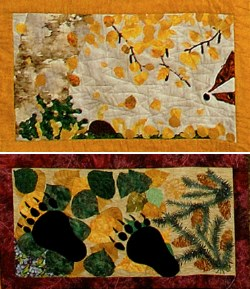 two quilted squares depict an aspen forest