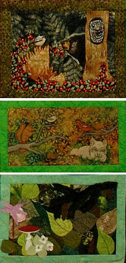 three quilted squares depicting forest life