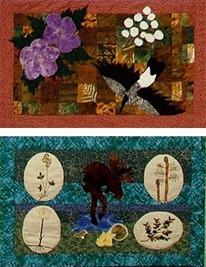 two quilted squares of a bird, flowers, and moose