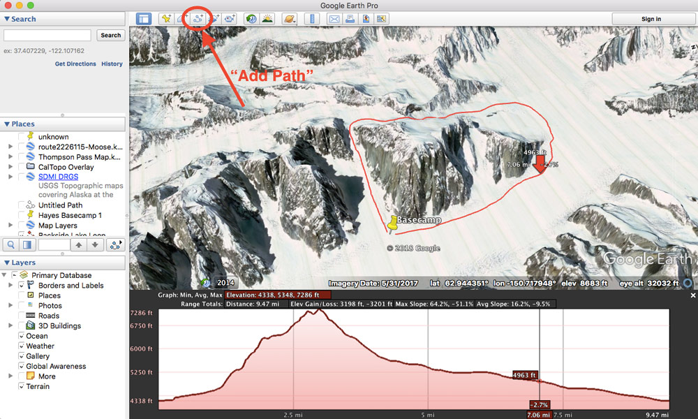 screenshot of a software application showing photo of glaciers and mountains and overlays indicating elevation and other information about the area