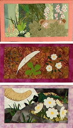 three quilted squares of a bear, Dall sheep, and mountain avens