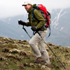 Hiker in alpine tundra