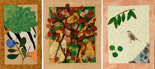 three quilt squares depicting a sparrow's head and aspen leaves