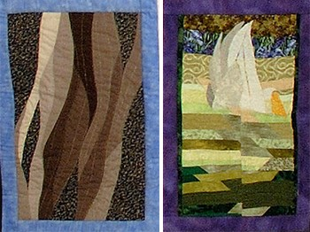 two quilt squares depicting a braided river and a bird flying over green water