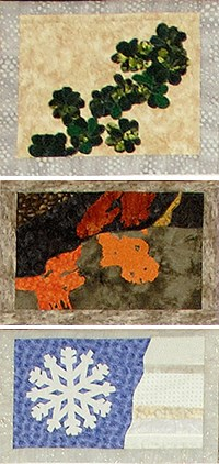 three quilted squares depicting leafy plants, orange lichens, and a snowflake