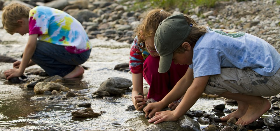 children play in a rocky creek