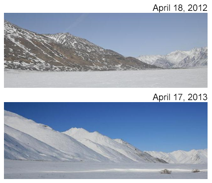 Comparison of snow cover between 2012 and 2013