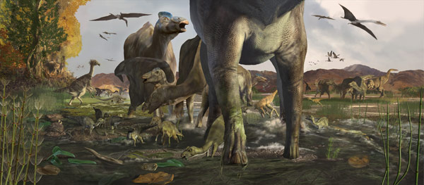 a large group of dinosaurs wander around prehistoric Denali.
