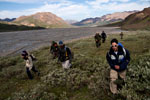 Young adults and a ranger walk through tundra with mountains in the background