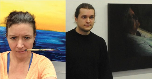 Two images, a woman holds a paintbrush in her teeth, and a man stands next to a painting