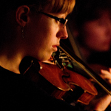 Fairbanks Summer Arts Festival String Orchestra performs at the Denali Visitor Center.