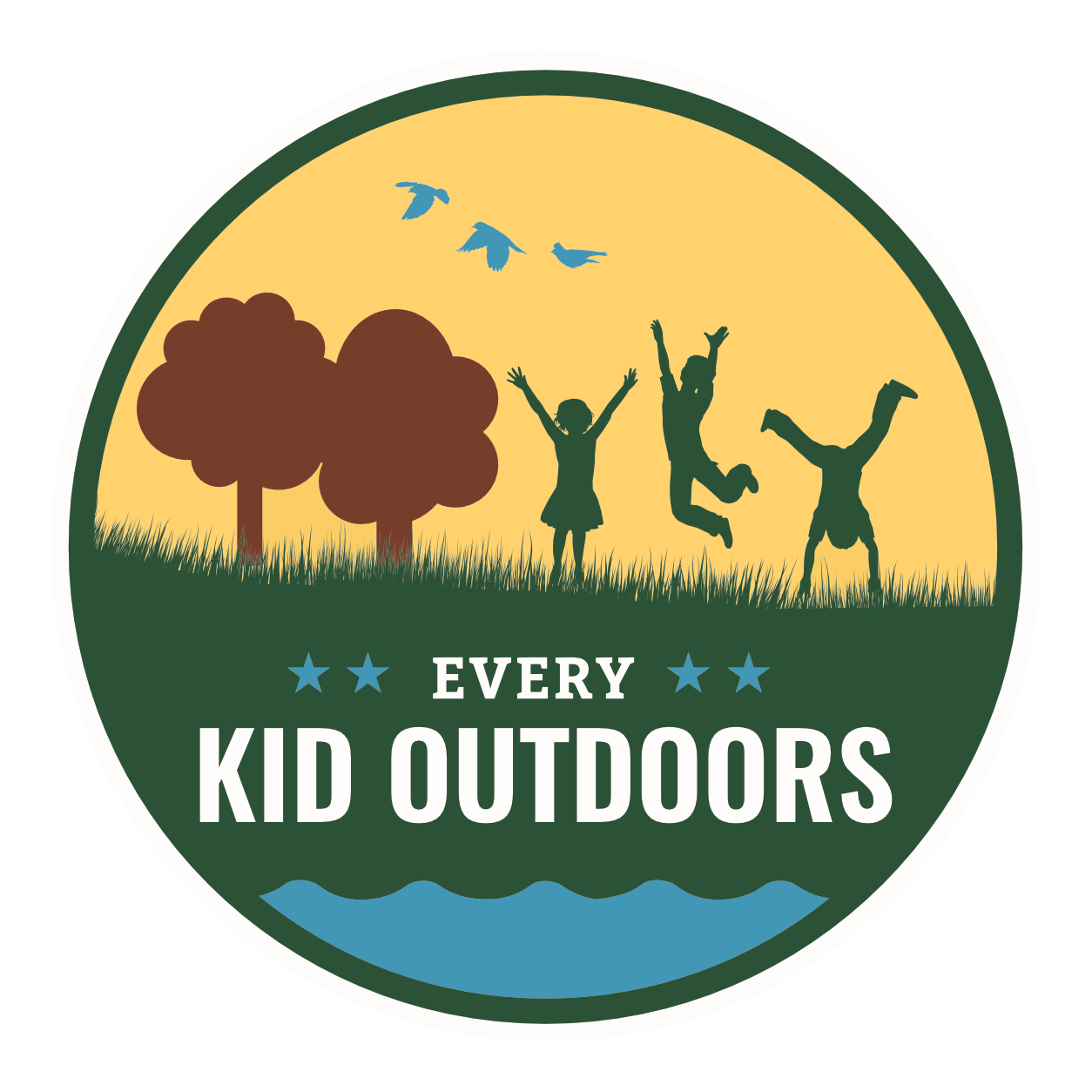 a logo of kids playing in a field with the words every kid outdoors superimposed