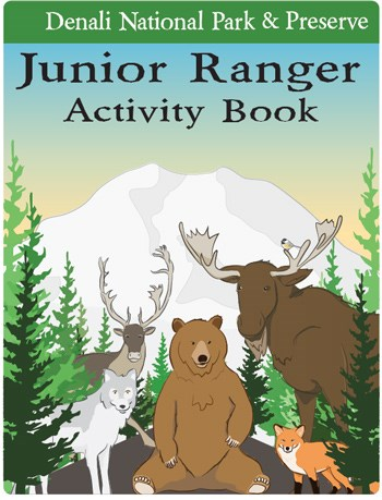 front cover of Denali's junior ranger book featuring a group of cartoon animals