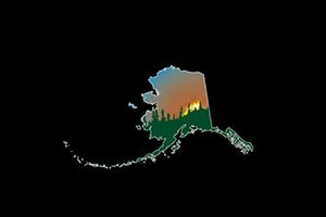 logo for alaska interagency fire coordinator center, an outline of alaska on a black background