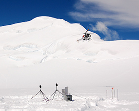 Sound monitoring station at Kahiltna Pass, 2007.