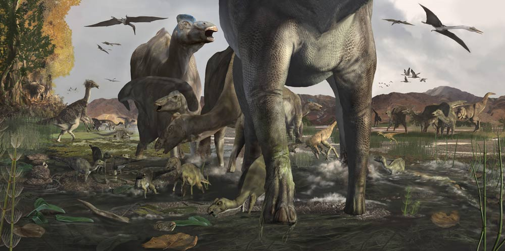computer-rendered drawing of dinosaurs