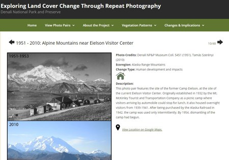 screenshot of a webpage with two photos comparing changes to a mountainous landscape between the 1950s and 2010