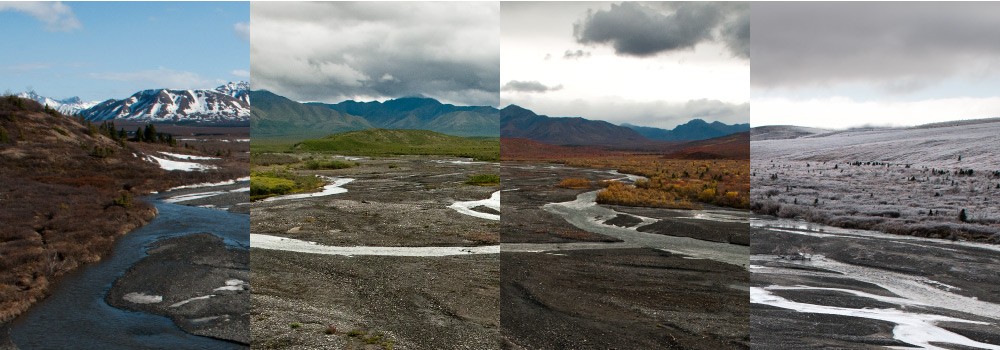 a group of pictures that show a braided river in different seasons