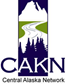 a logo of mountains, rivers and trees with the words central alaska network superimposed
