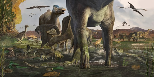 a digitally created image of dinosaurs roaming through a swamp