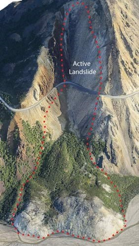 "aerial view of a mountainside with two circled areas, one high up labelled ""current landslide,"" the other circling a debris pile at the base of the mountain, labelled ""older landslide deposits"""