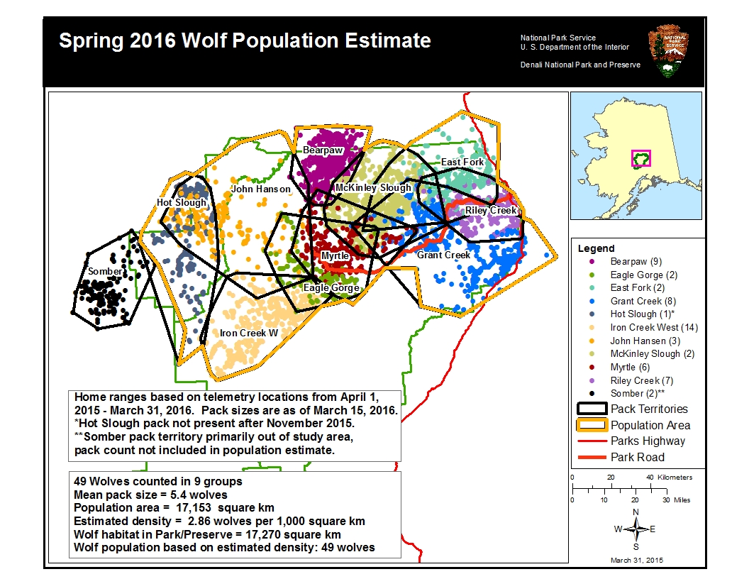 Wolves Denali National Park Preserve US National Park Service - Maps of the location of wolves in the us