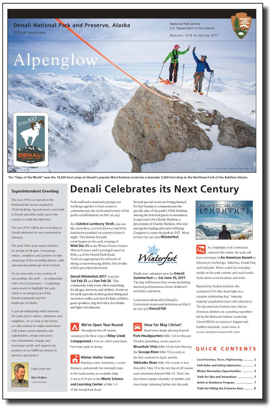 Front page of park newspaper with image of two people mountain climbing