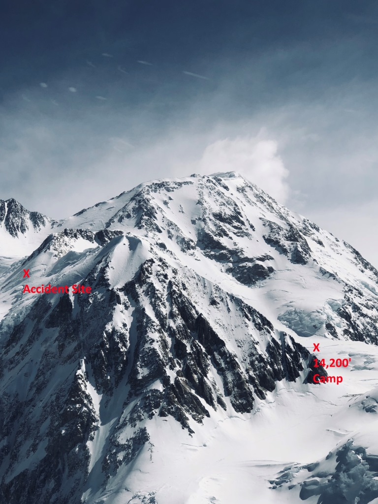 a huge snowy mountain. two labels indicate the presence a climbing camp on one side of the mountain, and a rescue site on the other side