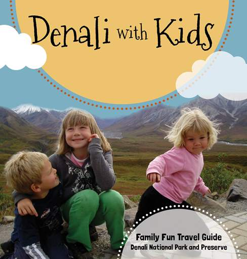 three kids playing in a meadow, the words Denali with Kids imprinted above them in the image