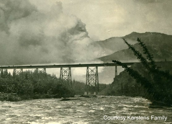 Historic image of train trestle over Riley Creek