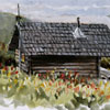 Painting of rustic cabin