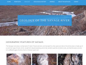 "screenshot of tri valley school's virtual tour, featuring various images of rocks and the words ""geology of the savage river"""