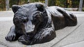 a bronze sculpture of a bear lying down