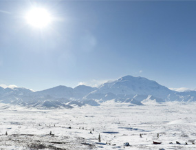 View of Mount McKinley from the snow-covered Turtle Hill area