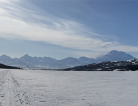 View of Mount McKinley from the middle of Wonder Lake, in winter