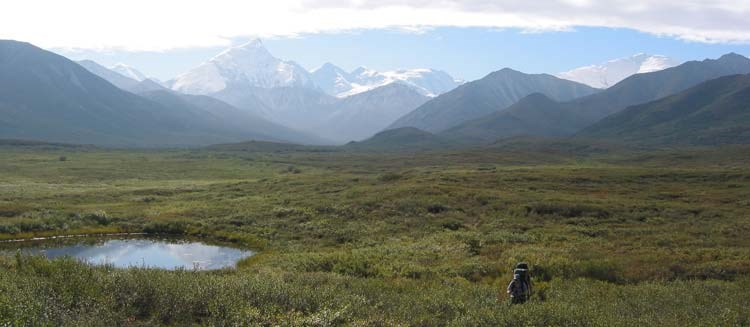 a person hiking across a brushy plain, near a small pond and with mountains in the distance