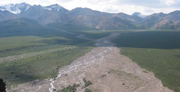 view overlooking a wide gravel bar around a narrow river, cutting through a green plain and up toward tall mountains