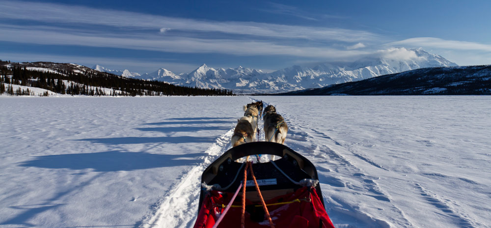 view down a dog sled and team o dogs across a snowy lake toward distant snowy mountains