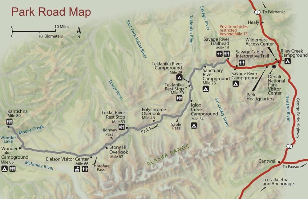Maps Denali National Park Preserve US National Park Service - Alaska road map