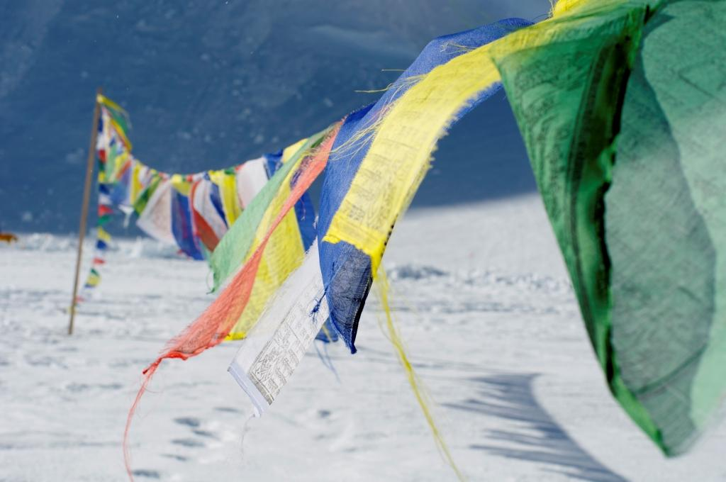 Prayer flags at the 14,200-foot camp