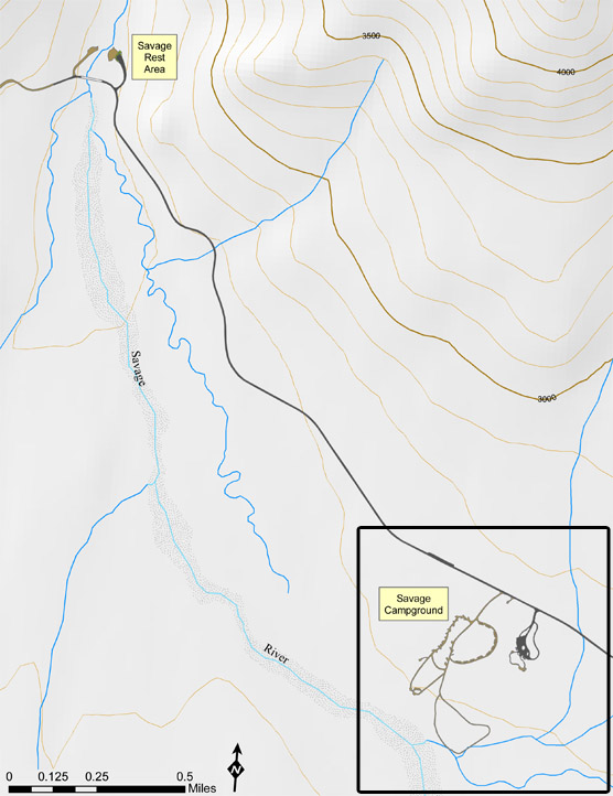 Map of the Savage River area, approx miles 13 - 15