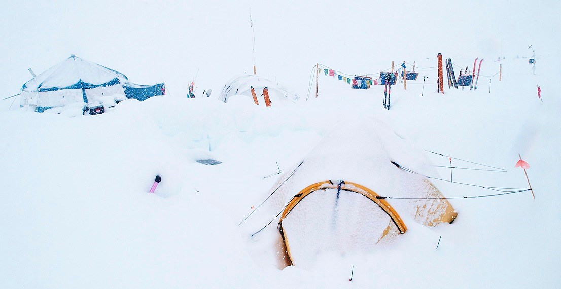 Deep snow covering tents