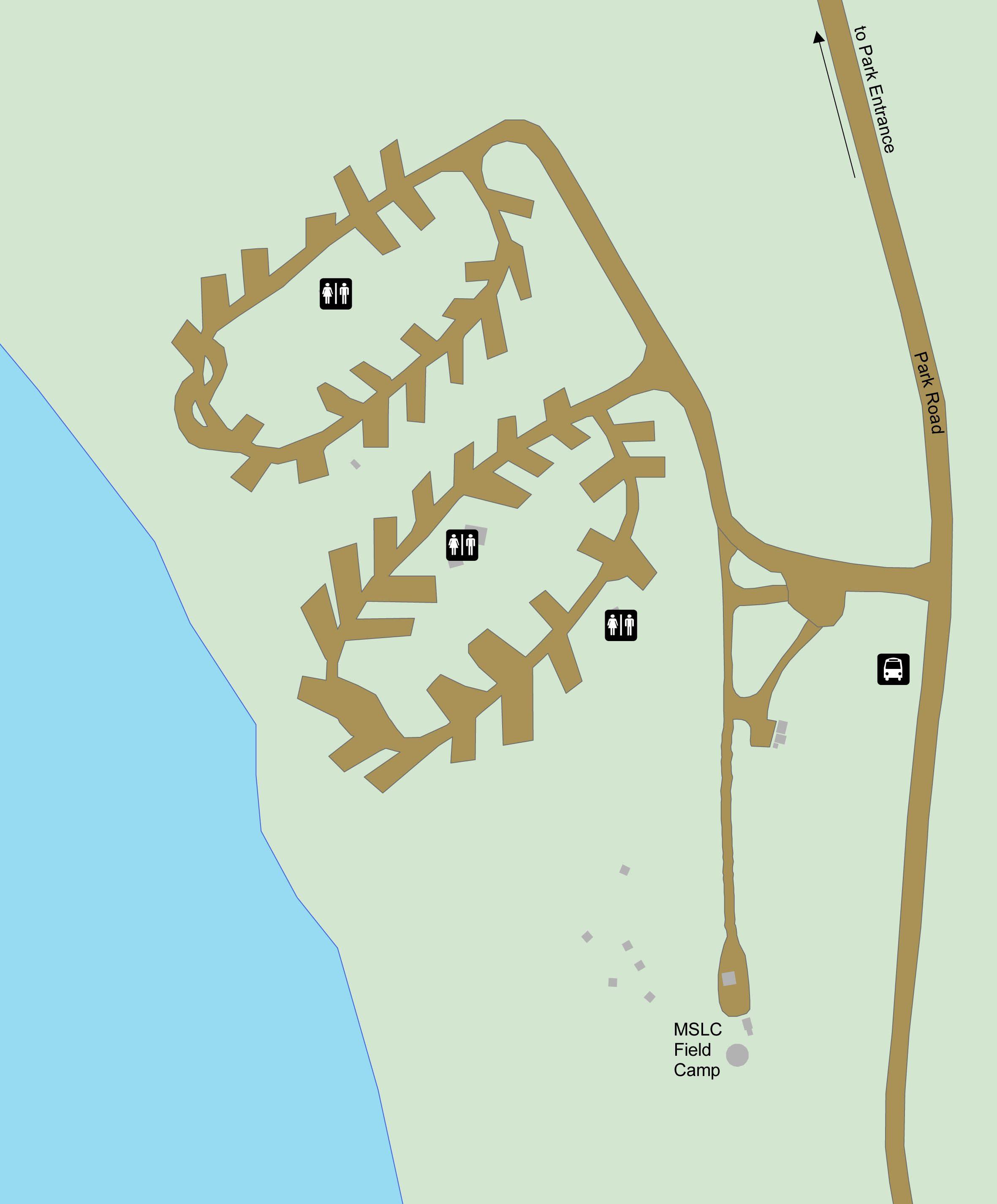 A map of Teklanika River Campground