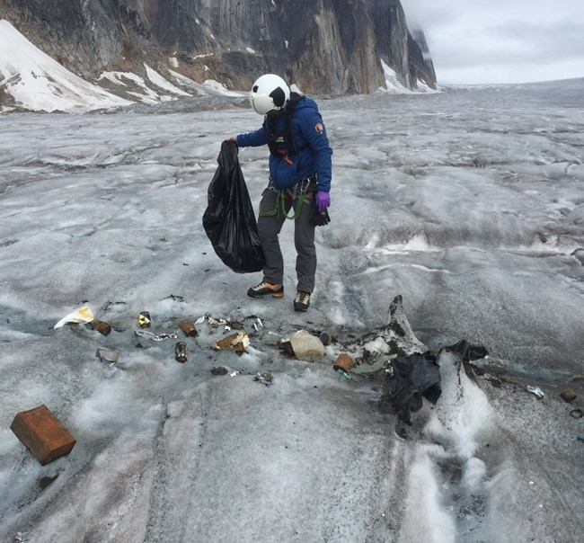 Late season trash on glacier