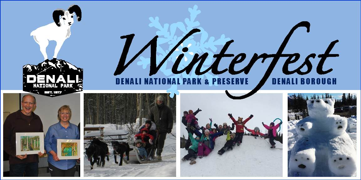 collage of people dog mushing and making snow sculptures, under a banner reading Winterfest: Denali National Park & Preserve, Denali Borough