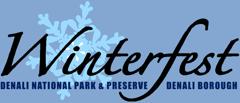 "a stylized blue logo of a snowflake and the words ""winterfest—denali national park, denali borough"""