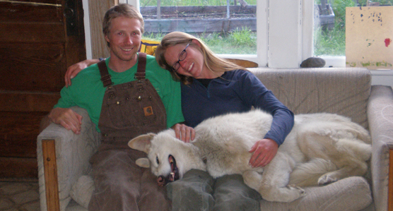 Carlo, a retired sled dog, relaxing with his new family in 2007