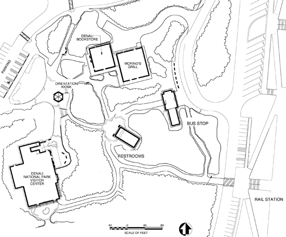 line drawing map of several buildings near each other, labelled denali visitor center, morino grill and alaska geographic bookstore