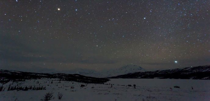 snowy landscape under a night sky filled with stars