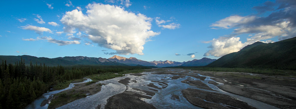 scenic, braided river flowing past mountains